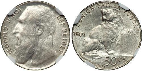 50 Centime 比利时 銀 利奥波德二世 (比利时)