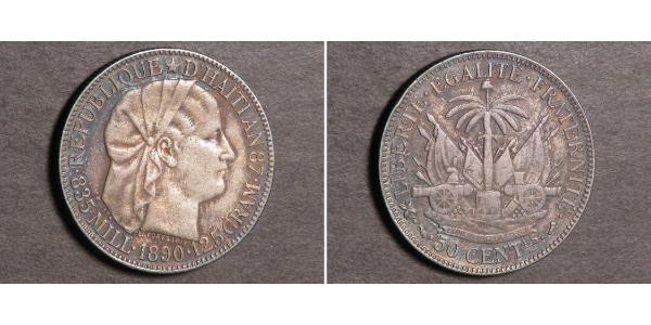 50 Centime Haiti Argento