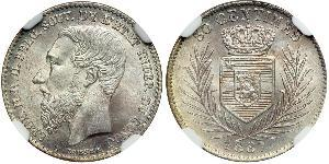 50 Centime Stato Libero del Congo (1885 - 1908) Argento Leopold II (1835 - 1909)