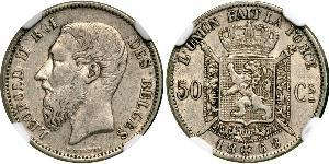 50 Centime Bélgica Plata Leopold II (1835 - 1909)