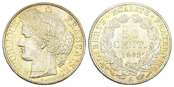 50 Centime Tercera República Francesa (1870-1940)  Plata