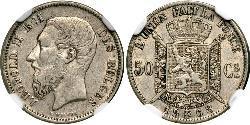 50 Centime Belgien Silber Leopold II (1835 - 1909)