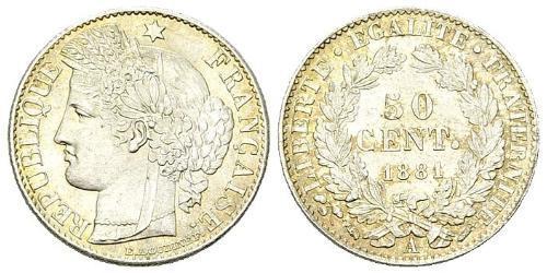 50 Centime Dritte Französische Republik (1870-1940)  Silber