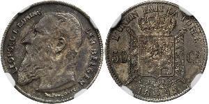50 Centime Belgium Silver Leopold II of Belgium(1835 - 1909)