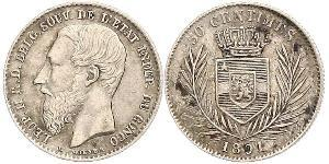 50 Centime Congo Free State (1885 - 1908) Silver Leopold II of Belgium(1835 - 1909)