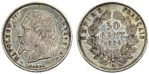 50 Centime Second French Empire (1852-1870) Silver Napoleon III (1808-1873)
