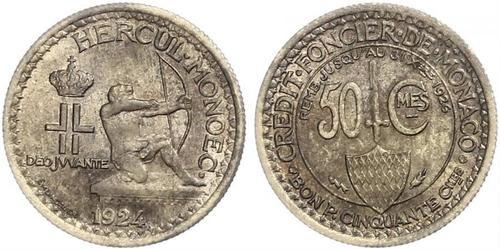 50 Centime Mónaco  Luis II de Mónaco (1870-1949)
