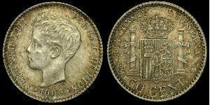 50 Centimo Kingdom of Spain (1874 - 1931) 銀 阿方索十三世 (1886 - 1941)
