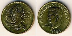 50 Centimo Philippines Brass