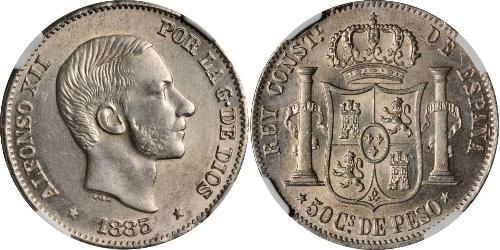50 Centimo Filipinas Plata