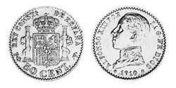50 Centimo Kingdom of Spain (1874 - 1931) Silber Alfonso XIII of Spain (1886 - 1941)