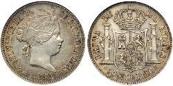 50 Centimo Philippines Silver Isabella II of Spain (1830- 1904)