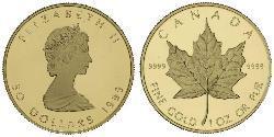 50 Dólar Canadá Oro Isabel II (1926-)