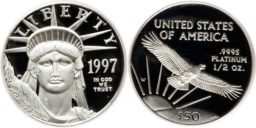 50 Dólar Estados Unidos de América (1776 - ) Platino