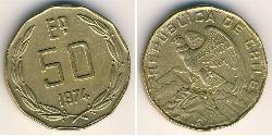 50 Escudo Cile Ottone