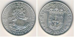50 Escudo Second Portuguese Republic (1933 - 1974) Silver