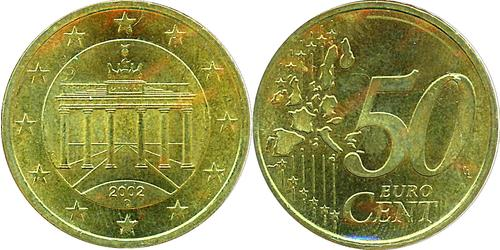50 Eurocent Federal Republic of Germany (1990 - ) Brass