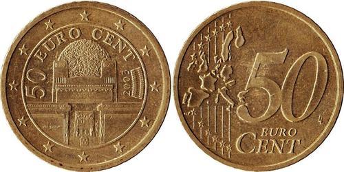 50 Eurocent Republic of Austria (1955 - ) Copper