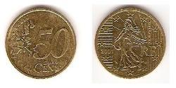 50 Eurocent French Fifth Republic (1958 - ) Tin/Aluminium/Copper/Zinc