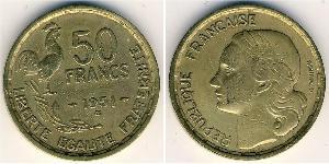 50 Franc 法兰西第四共和国 (1946 - 1958) 青铜/铝