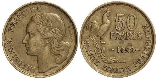 50 Franc Quarta Repubblica francese (1946-1958) Alluminio/Bronzo