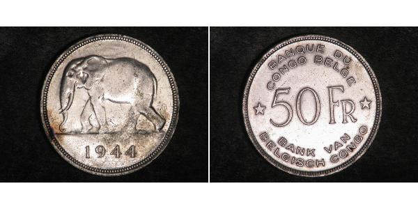 50 Franc Congo belge (1908 - 1960) Argent