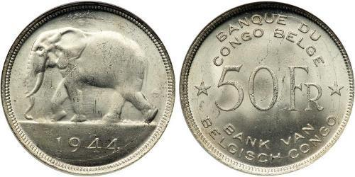 50 Franc Congo Belga (1908 - 1960) Argento