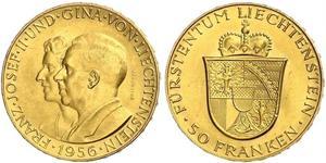50 Franc Liechtenstein Gold Franz Joseph II, Prince of Liechtenstein (1938 - 1989)