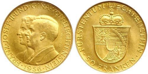 50 Franc Liechtenstein Or Franz Joseph II, Prince of Liechtenstein (1938 - 1989)