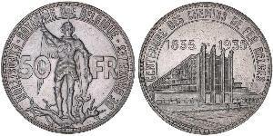 50 Franc Bélgica Plata