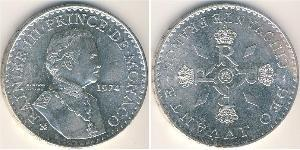 50 Franc Mónaco Plata Raniero III de Mónaco