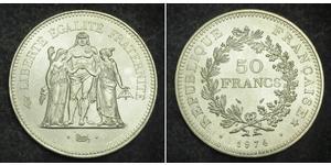 50 Franc Quinta República Francesa (1958 - ) Plata