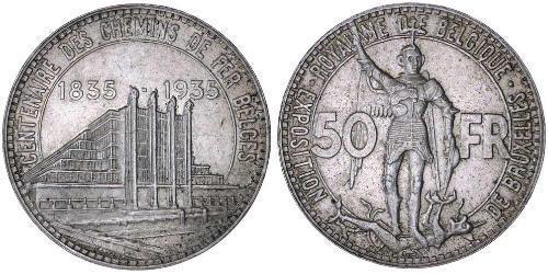 50 Franc Belgien Silber
