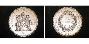50 Franc Fünfte Französische Republik (1958 - ) Silber