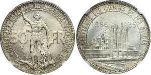 50 Franc Belgium Silver