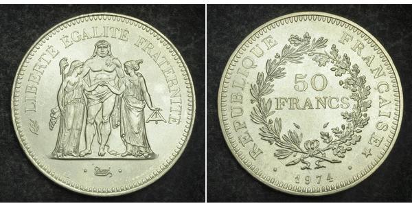50 Franc French Fifth Republic (1958 - ) Silver