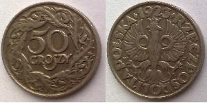 50 Grosh Segunda República Polaca (1918 - 1939) Níquel