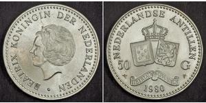 50 Gulden Antilles néerlandaises (1954 – 2010) Argent Beatrix (reine des Pays-Bas)