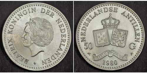 50 Gulden Netherlands Antilles (1954 – 2010) Silver Beatrix of the Netherlands