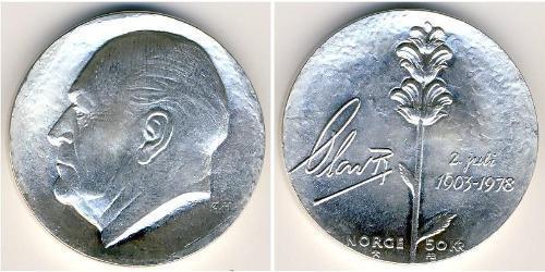 50 Krone Norvegia (1905 - ) Argento Olav V di Norvegia (1903 - 1991)