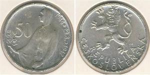 50 Krone Checoslovaquia  (1918-1992) Plata