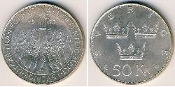 50 Krone Suecia Plata