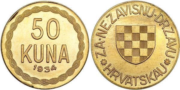 50 Kuna Croatie Or