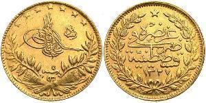 50 Kurush Turchia (1923 - ) Oro Muhammad V del Marocco (1909 - 1961)