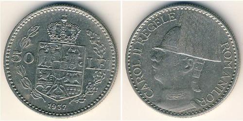 50 Lev Königreich Rumänien (1881-1947) Nickel Carol II of Romania (1893 - 1953)
