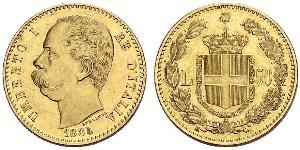 50 Lira 意大利王國 (1861-1946) 金 Umberto I (1844-1900)