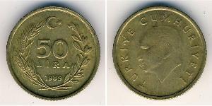 50 Lira Turkey (1923 - ) Brass