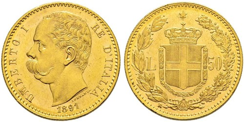 50 Lira Kingdom of Italy (1861-1946) Gold Umberto I (1844-1900)