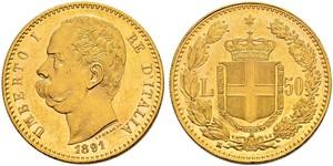 50 Lira Kingdom of Italy (1861-1946) Or Umberto I (1844-1900)