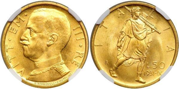 50 Lira Kingdom of Italy (1861-1946) Or Vittorio Emanuele III (1869 - 1947)